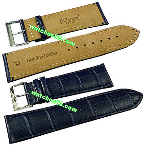 24mm Genuine Leather Strap - Color: Blue Code: HGX8481-24mm