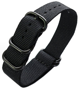 22mm ADMIRAL Nato Nylon Strap  Code: N22BBK Color: Black
