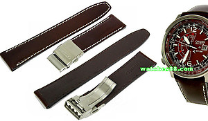CITIZEN Genuine Leather Strap 22mm for CITIZEN PROMASTER SKY Eco-Drive BJ7010 & BJ7019 Code : 59-851702 Color: Brown Color