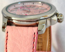 Seiko 18mm genuine CALF leather strap for SPA857, etc Color: Pink